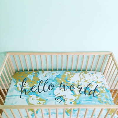Hello World baby bedding