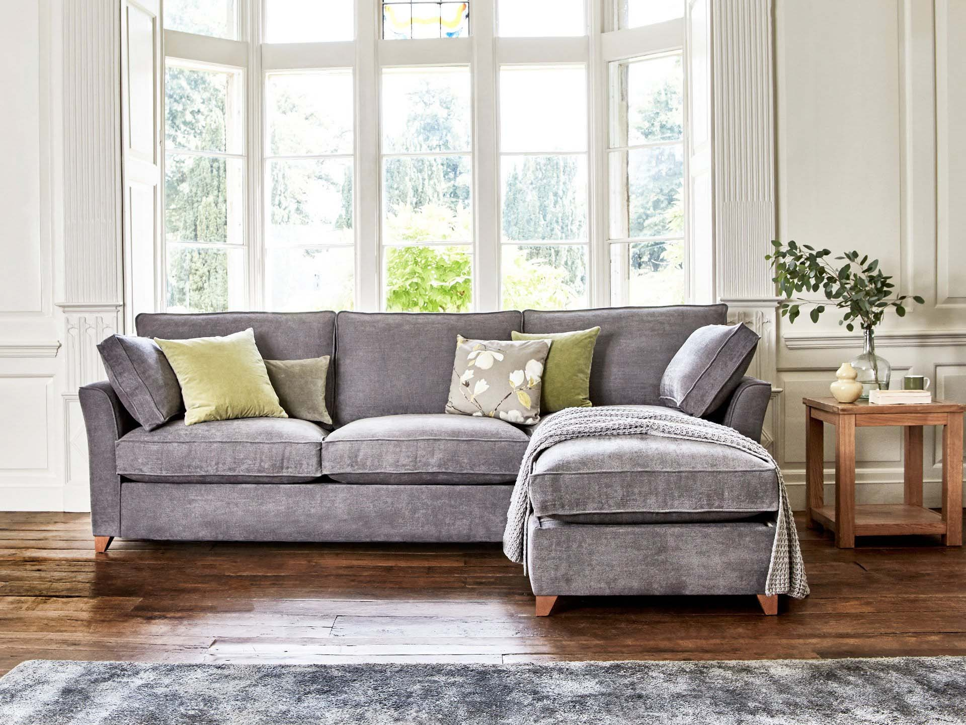 This is how I look in Stain Resistant Linen Cotton Pewter as a right side chaise with siliconized hollow fibre<br> or feather-wrapped foam seat cushions