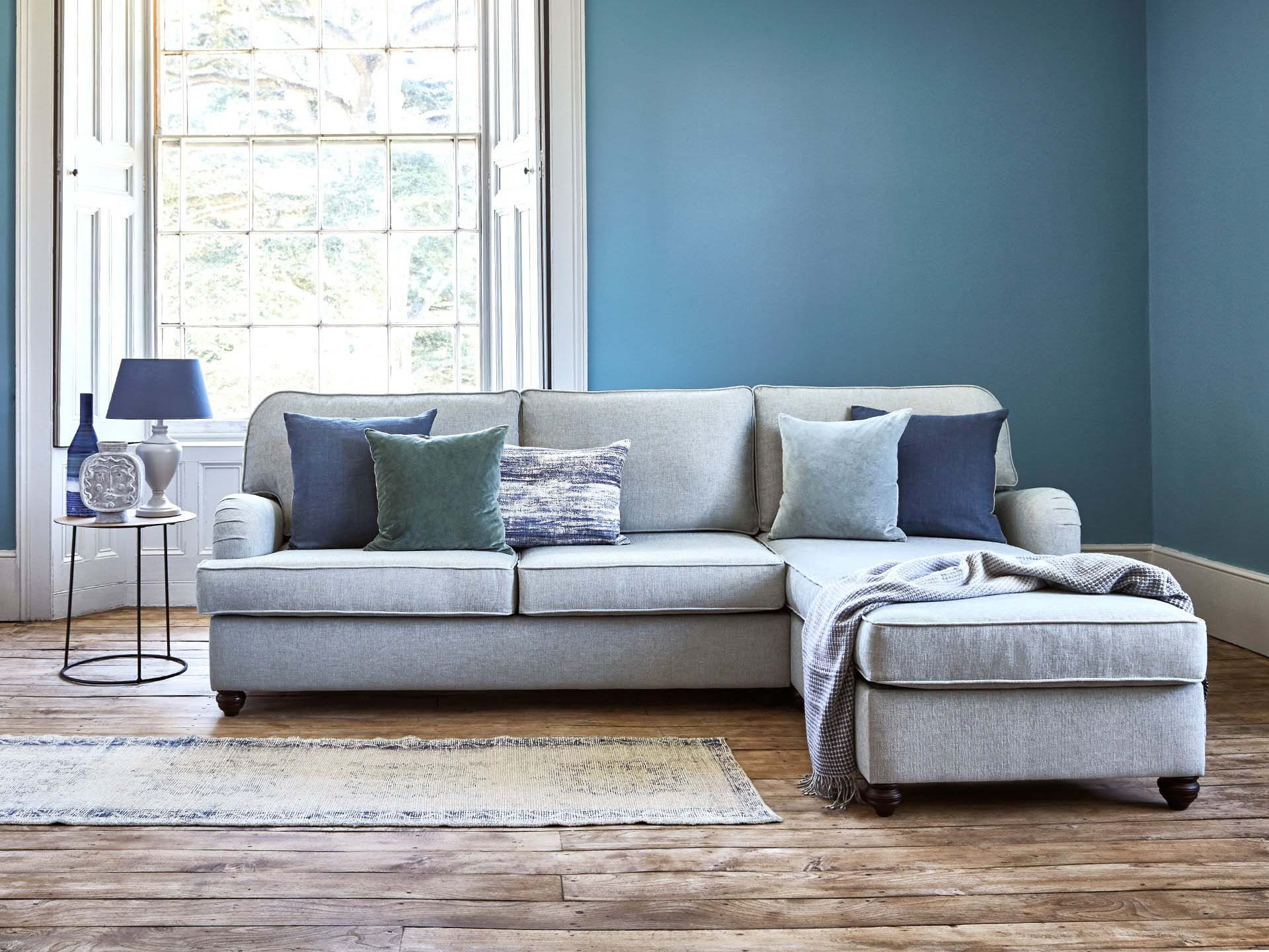 This is how I look in Stain Resistant Linen Cotton Nordic Blue as a right side chaise with reflex foam seat cushions