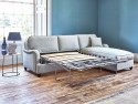 This is how I look in Stain Resistant Linen Cotton Nordic Blue as a right side chaise with siliconized hollow fibre<br> or feather-wrapped foam seat cushions